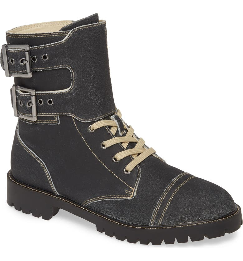 BAND OF GYPSIES Atwood Dual Buckle Bootie, Main, color, BLACK LEATHER