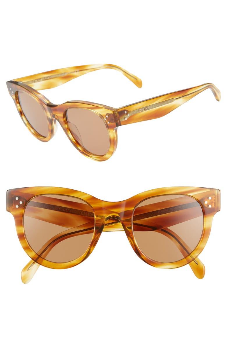 CELINE 48mm Cat Eye Sunglasses, Main, color, STRIPED HAVANA/ NICOTINE