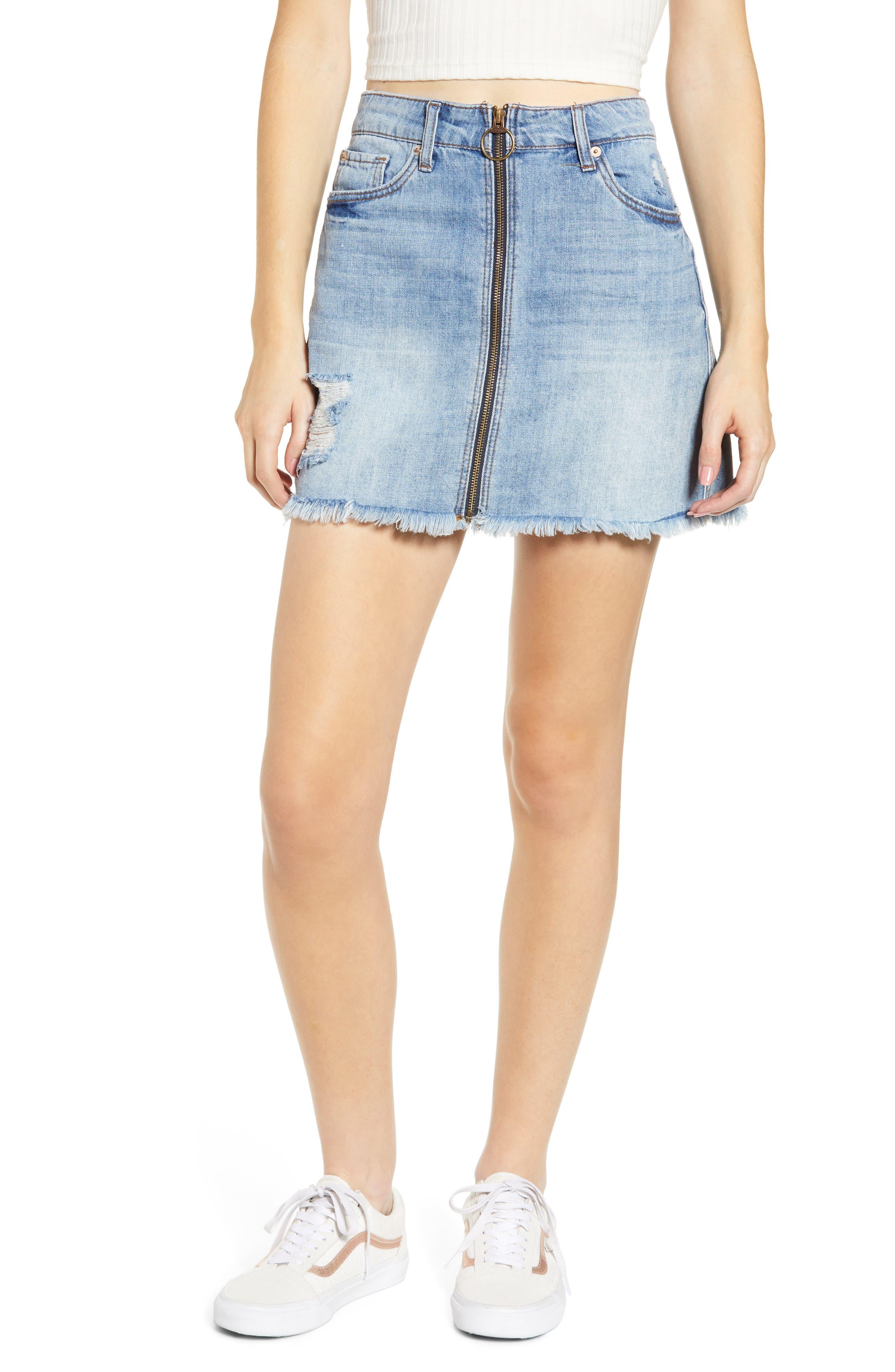 Sts Blue Emily Zip Front Denim Miniskirt, Blue