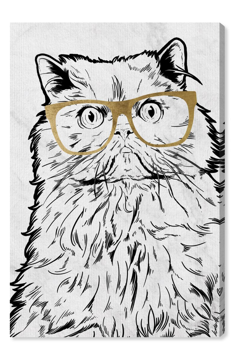 OLIVER GAL Cat with Gold Glasses Canvas Wall Art, Main, color, GREY WHITE