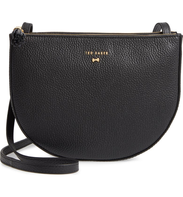 TED BAKER LONDON Suzzane Semi Circle Double Zip Leather Crossbody Bag, Main, color, 001
