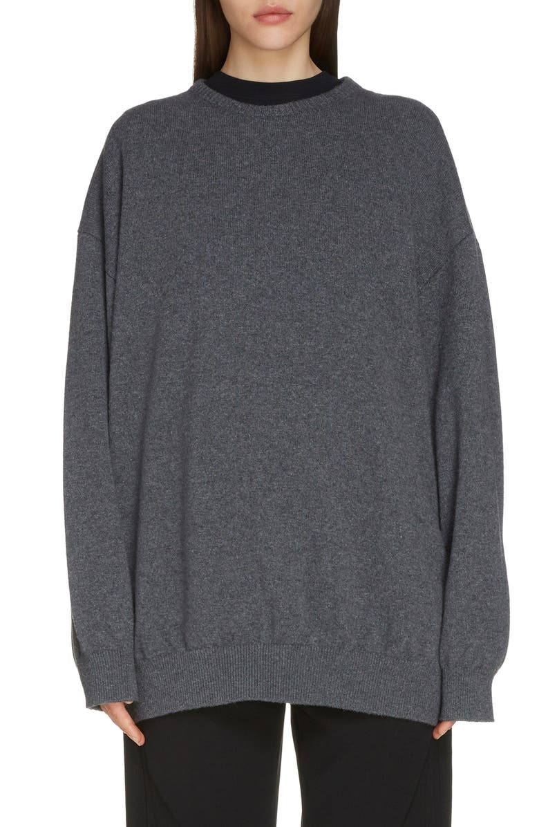 BALENCIAGA Lipstick Logo Cashmere Sweater, Main, color, HEATHER GREY