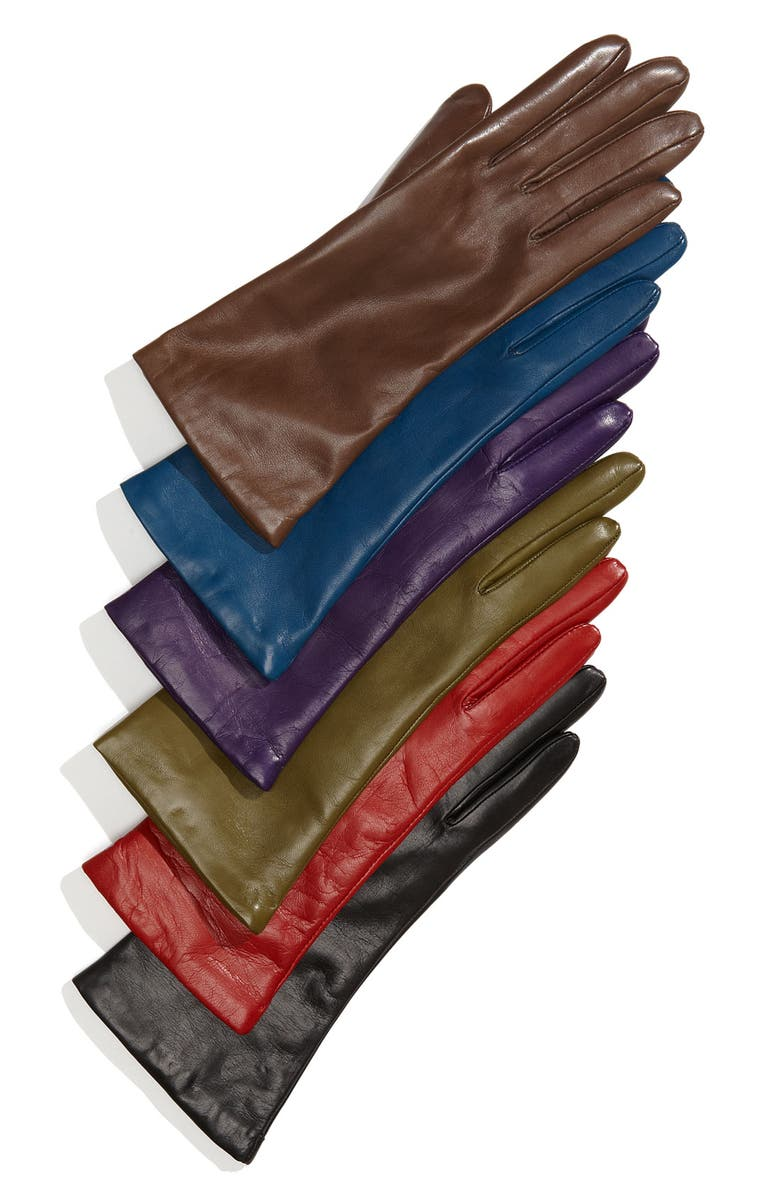 NORDSTROM Cashmere Lined Leather Gloves, Main, color, 020