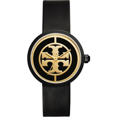 Tory Burch Reva Logo Dial Leather Strap Watch,