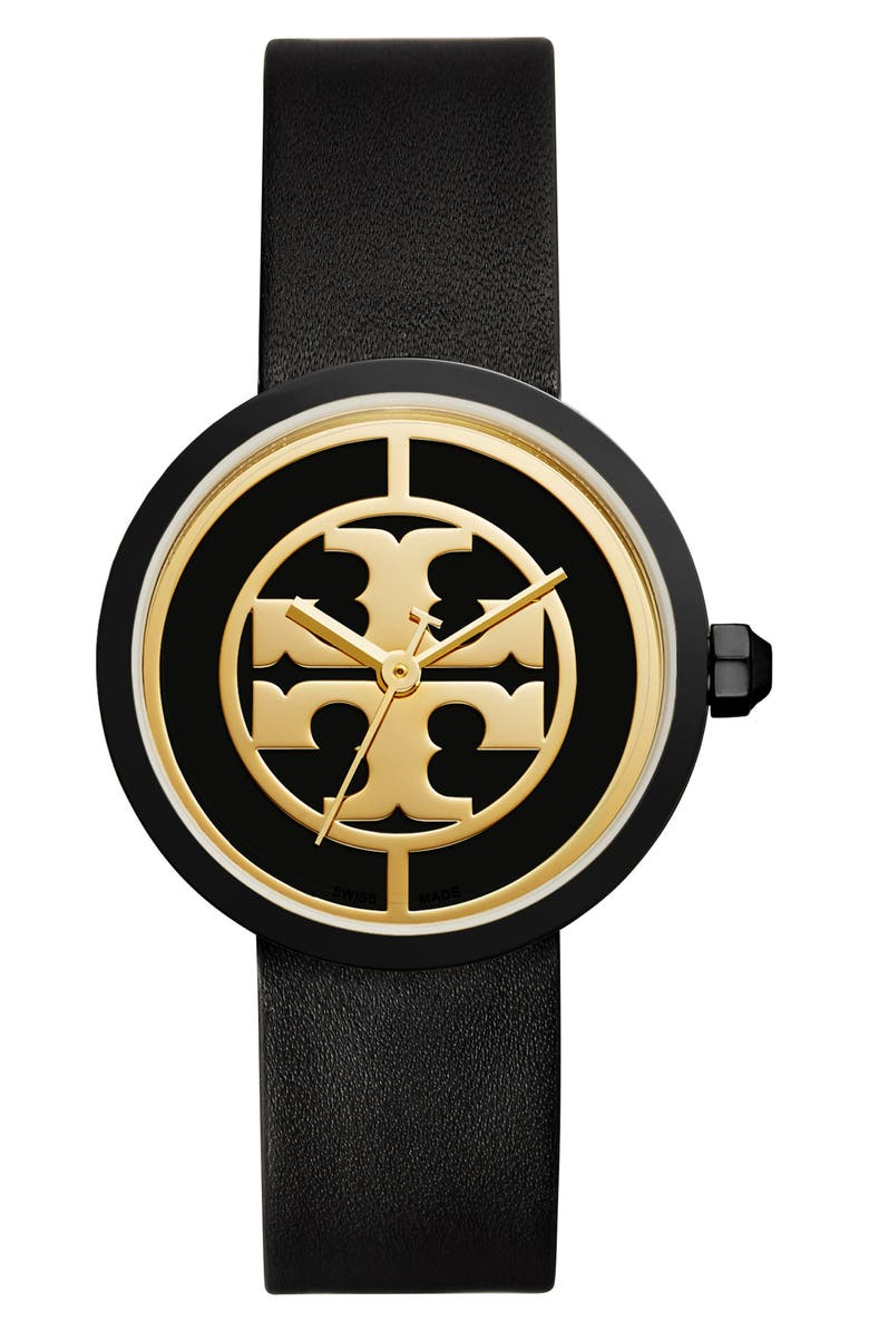TORY BURCH Reva Logo Dial Leather Strap Watch, 36mm, Main, color, 001