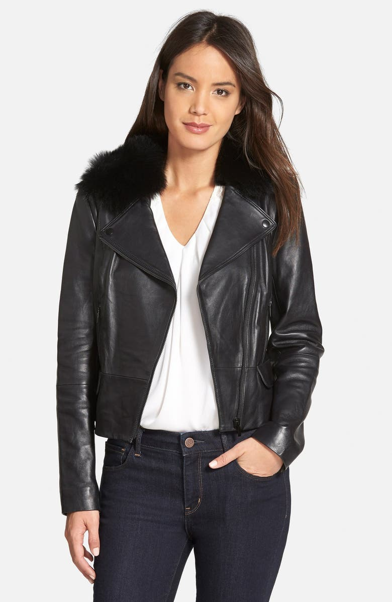CLASSIQUES ENTIER<SUP>®</SUP> 'Brenna' Leather Jacket with Detachable Genuine Toscana Shearling Collar, Main, color, 001