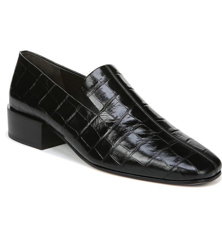 VIA SPIGA Baudelaire Loafer, Main, color, BLACK EMBOSSED LEATHER