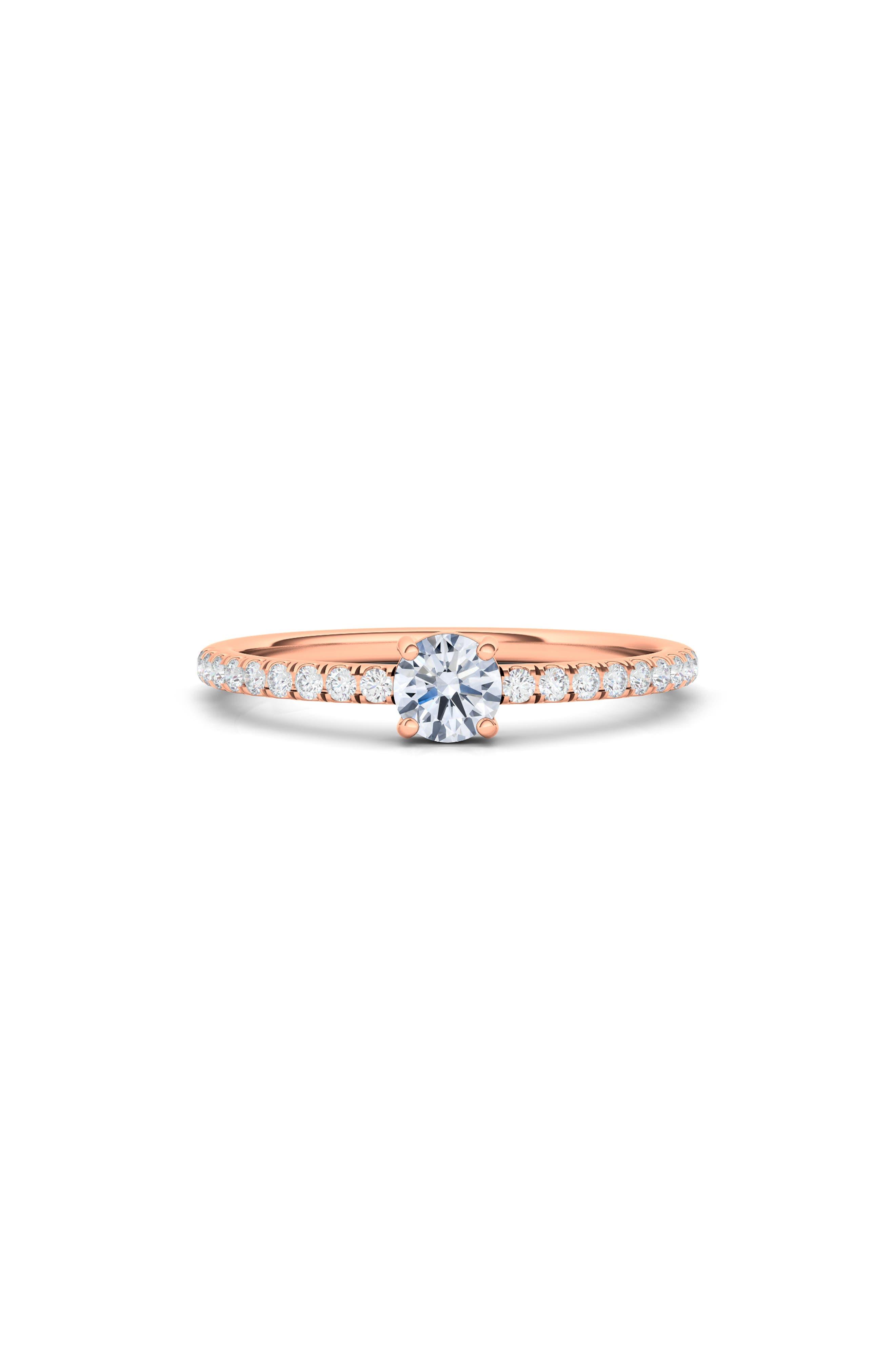 Lab Created Round Diamond & Pave 14K Gold Ring