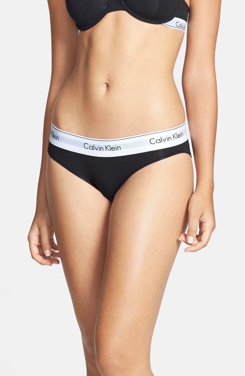 CALVIN KLEIN 'Modern Cotton Collection' Cotton Blend Bikini, Main, color, BLACK
