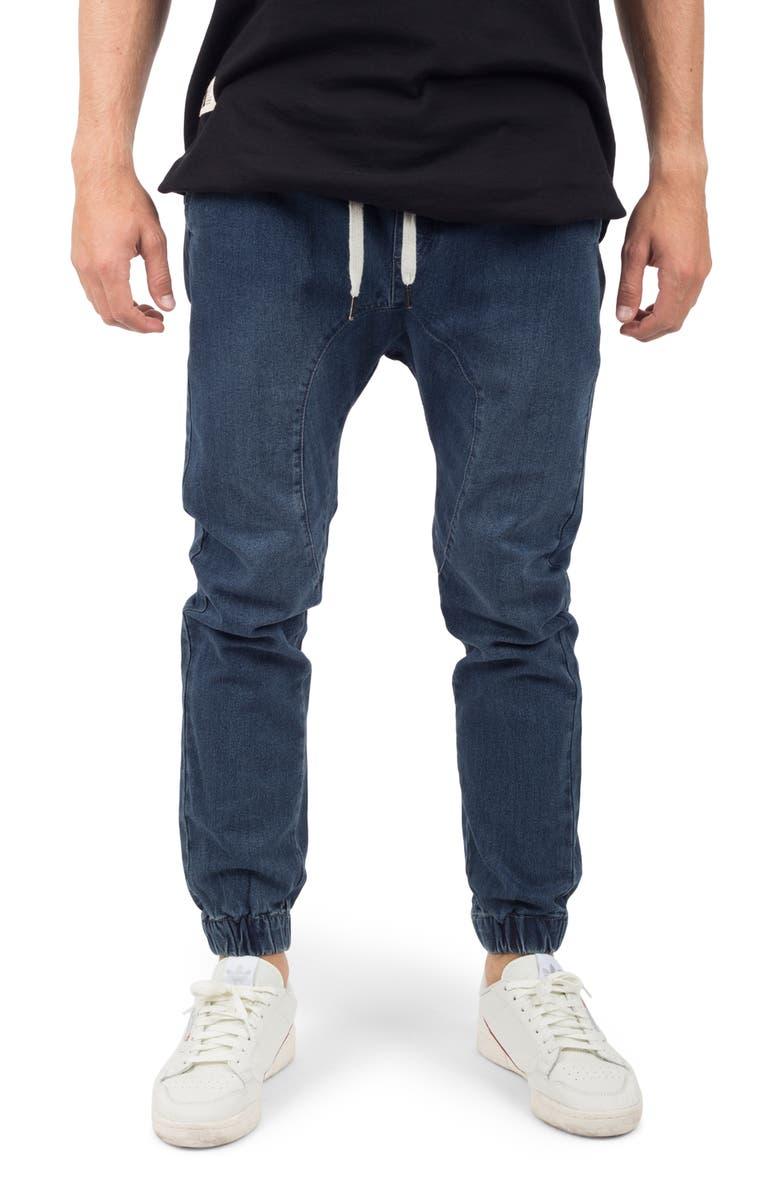 LIRA CLOTHING Vintage Denim Jogger 2.0 Pants, Main, color, DARK BLUE