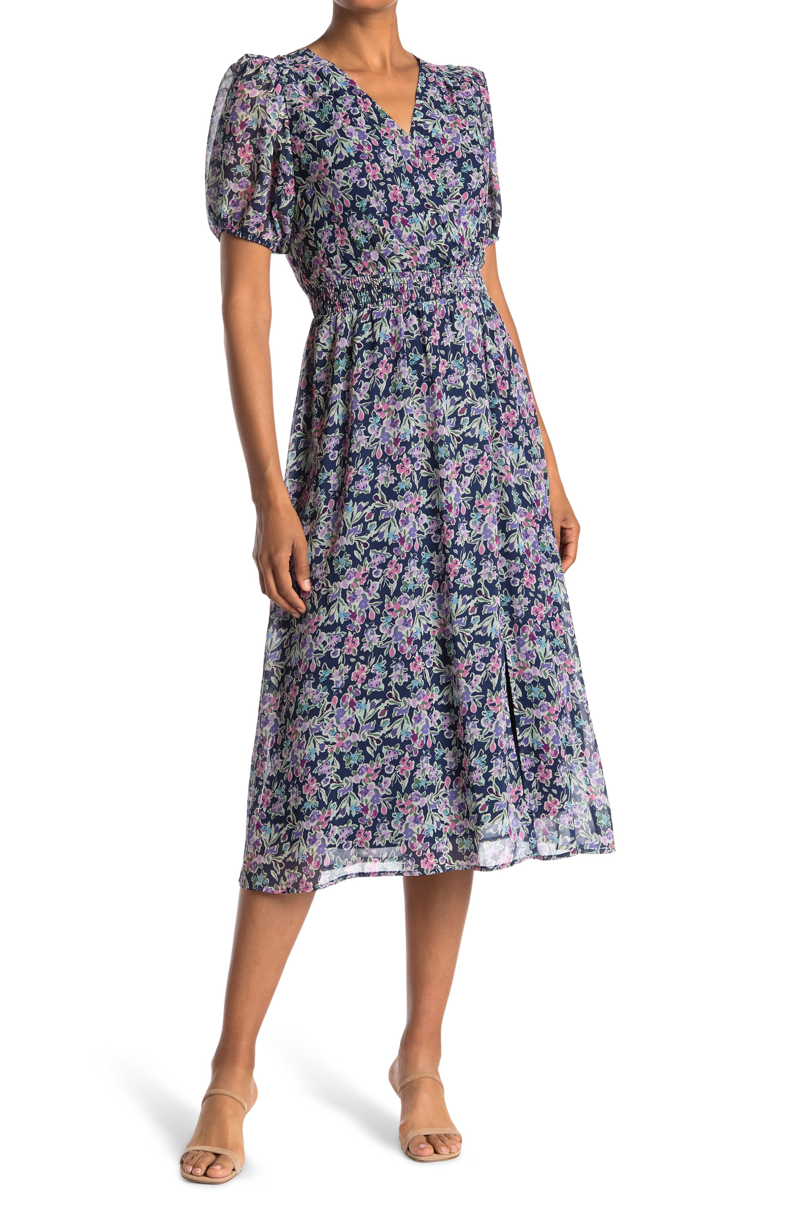 Vintage Style Dresses | Vintage Inspired Dresses COLLECTIVE CONCEPTS Floral Puff Sleeve Smocked Waist Midi Dress Size X-Large in Floral Multi at Nordstrom Rack $44.97 AT vintagedancer.com