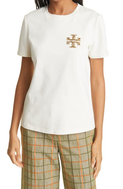 Tory Burch EMBELLISHED LOGO T-SHIRT