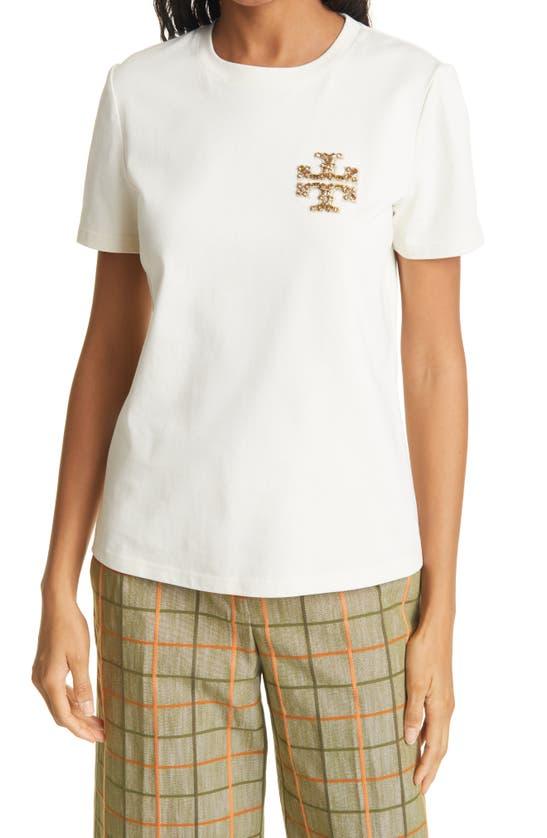 TORY BURCH T-shirts EMBELLISHED LOGO T-SHIRT