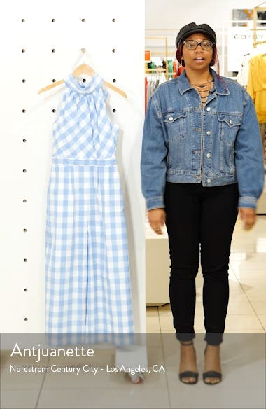 Gingham High Neck Cotton Poplin Jumpsuit, sales video thumbnail