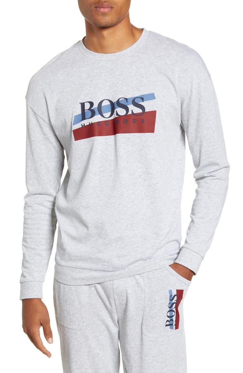 BOSS Authentic Cotton Crewneck Sweatshirt, Main, color, GREY