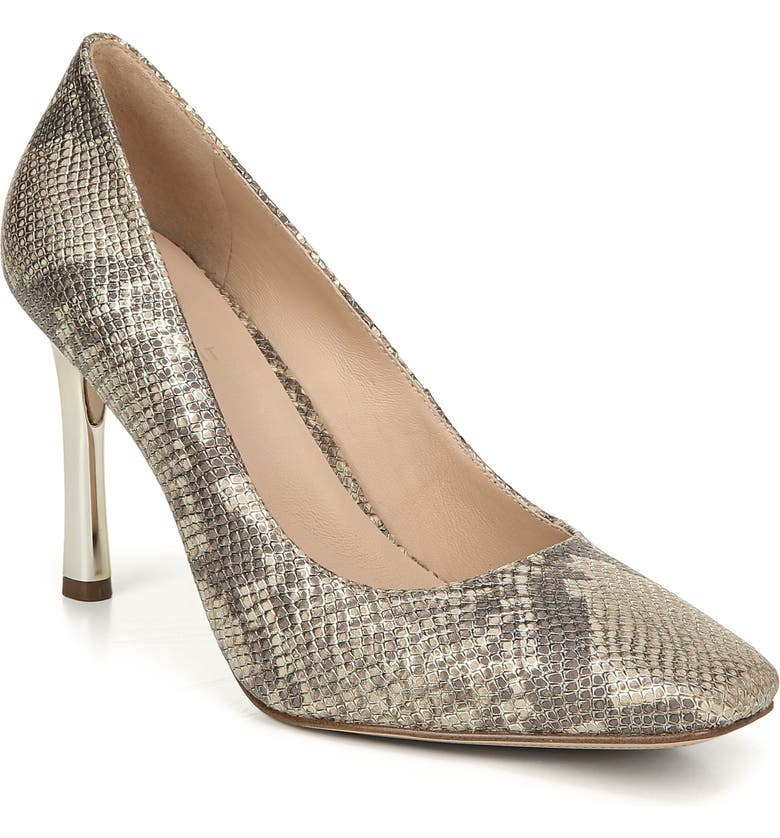 27 EDIT Paisley Square Toe Pump, Main, color, GOLD SNAKE PRINT LEATHER