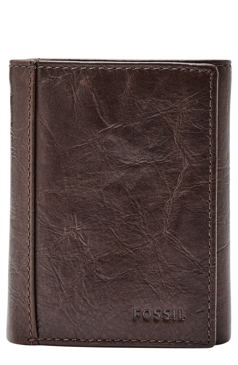FOSSIL Neel Leather Wallet, Main, color, BROWN
