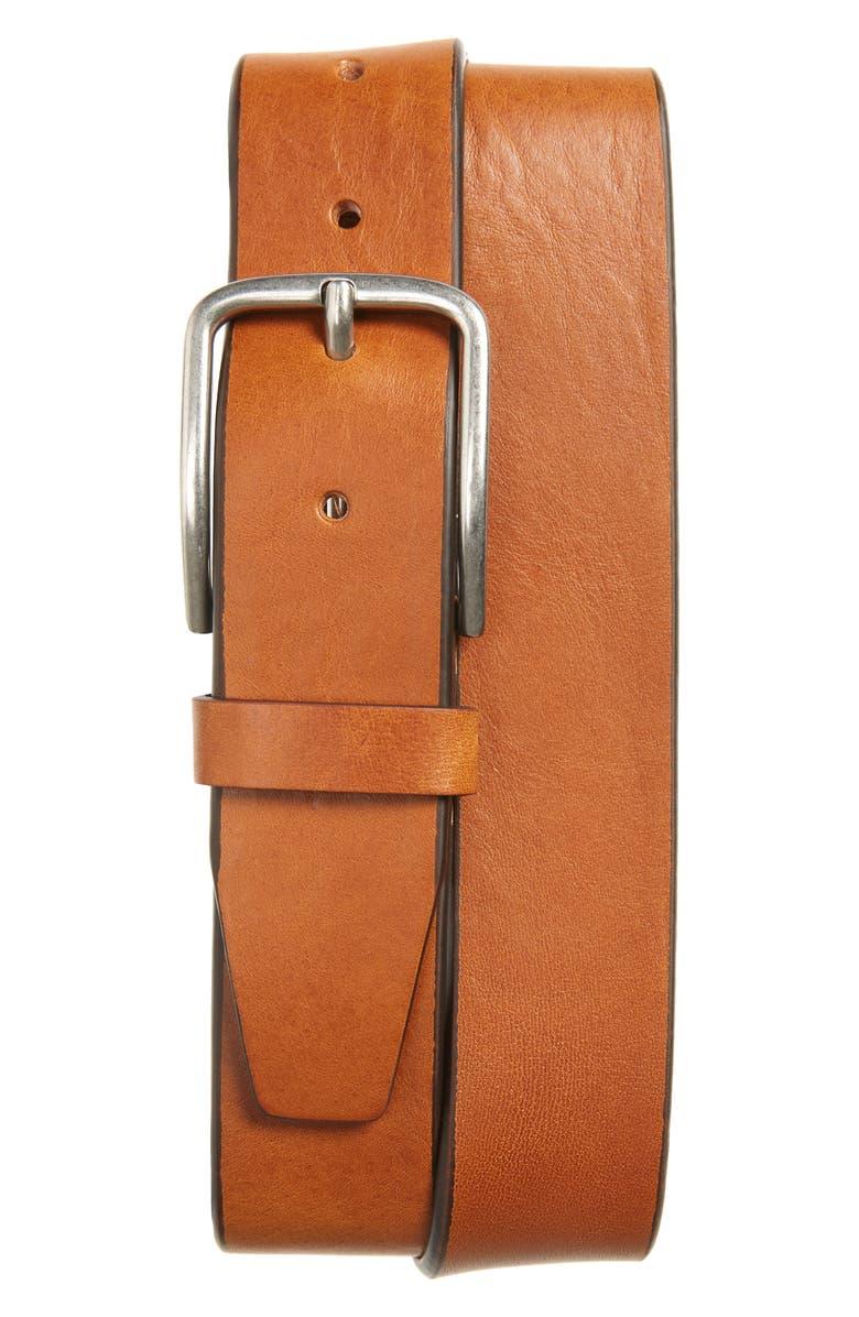 NORDSTROM MEN'S SHOP Rhodes Leather Belt, Main, color, COGNAC