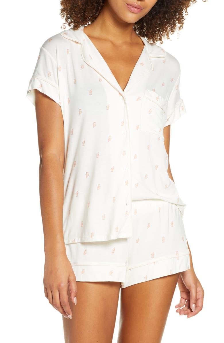 EBERJEY Owl Print Short Pajamas, Main, color, MULTI/BELLINI