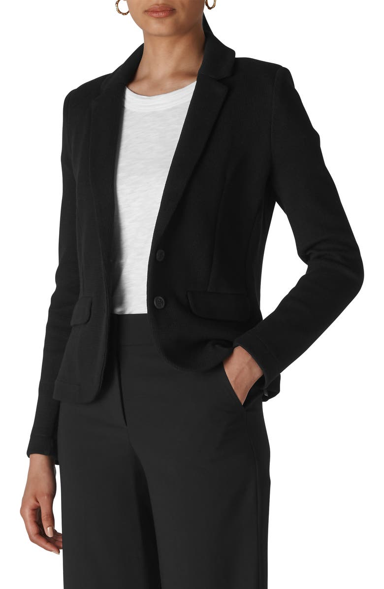 WHISTLES Slim Jersey Jacket, Main, color, 001