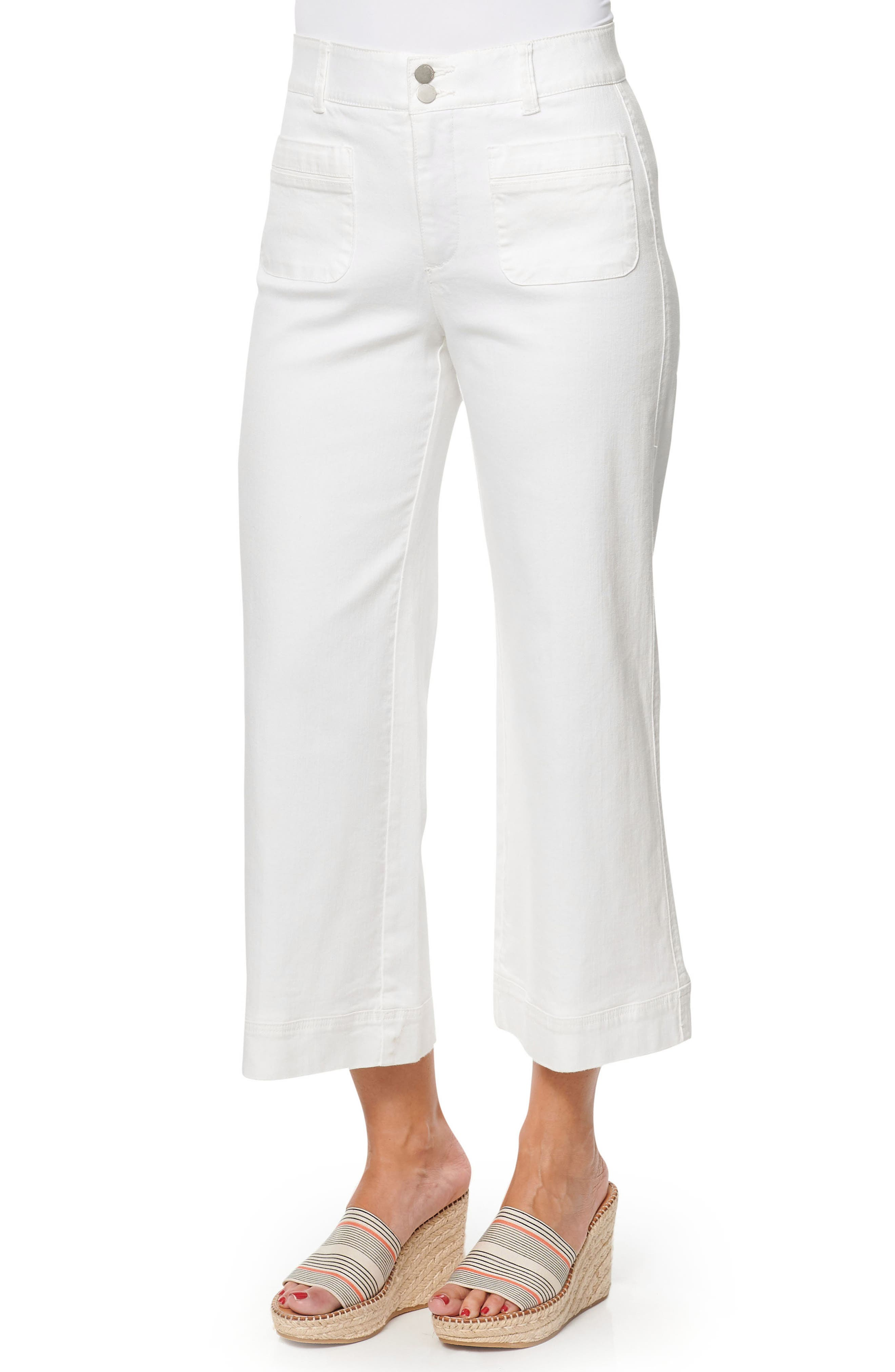 A high waistband accentuates the wide, flared legs of versatile white pants updated in a cropped length with front patch pockets. Style Name: Wit & Wisdom Ab-Solution High Waist Crop Wide Leg Jeans (Nordstrom Exclusive). Style Number: 6012656. Available in stores.