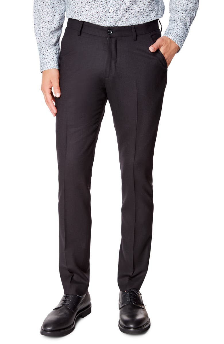 GOOD MAN BRAND Flat Front Solid Wool Dress Pants, Main, color, BLACK