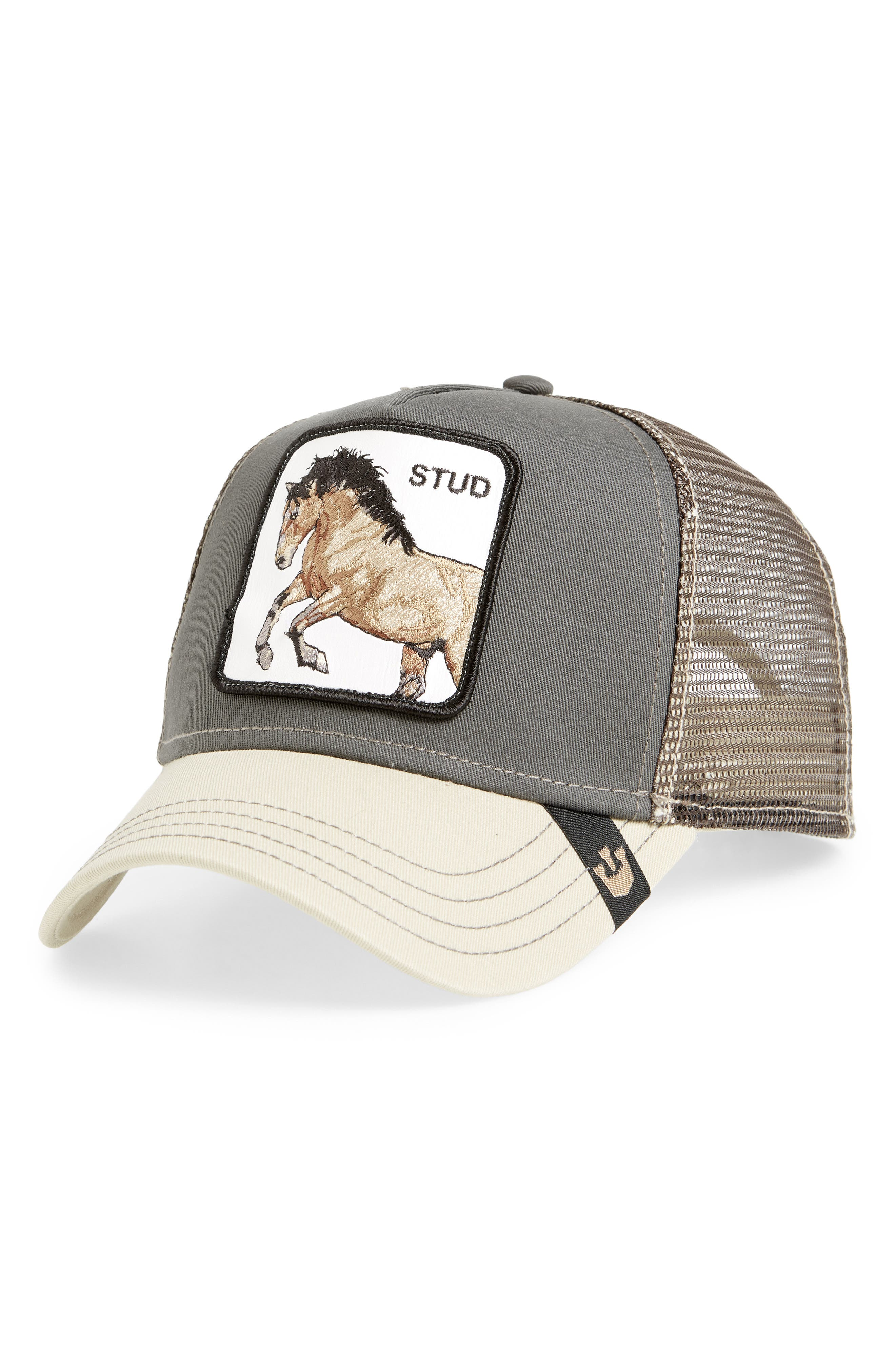 You Stud Trucker Hat, Main, color, GRAY