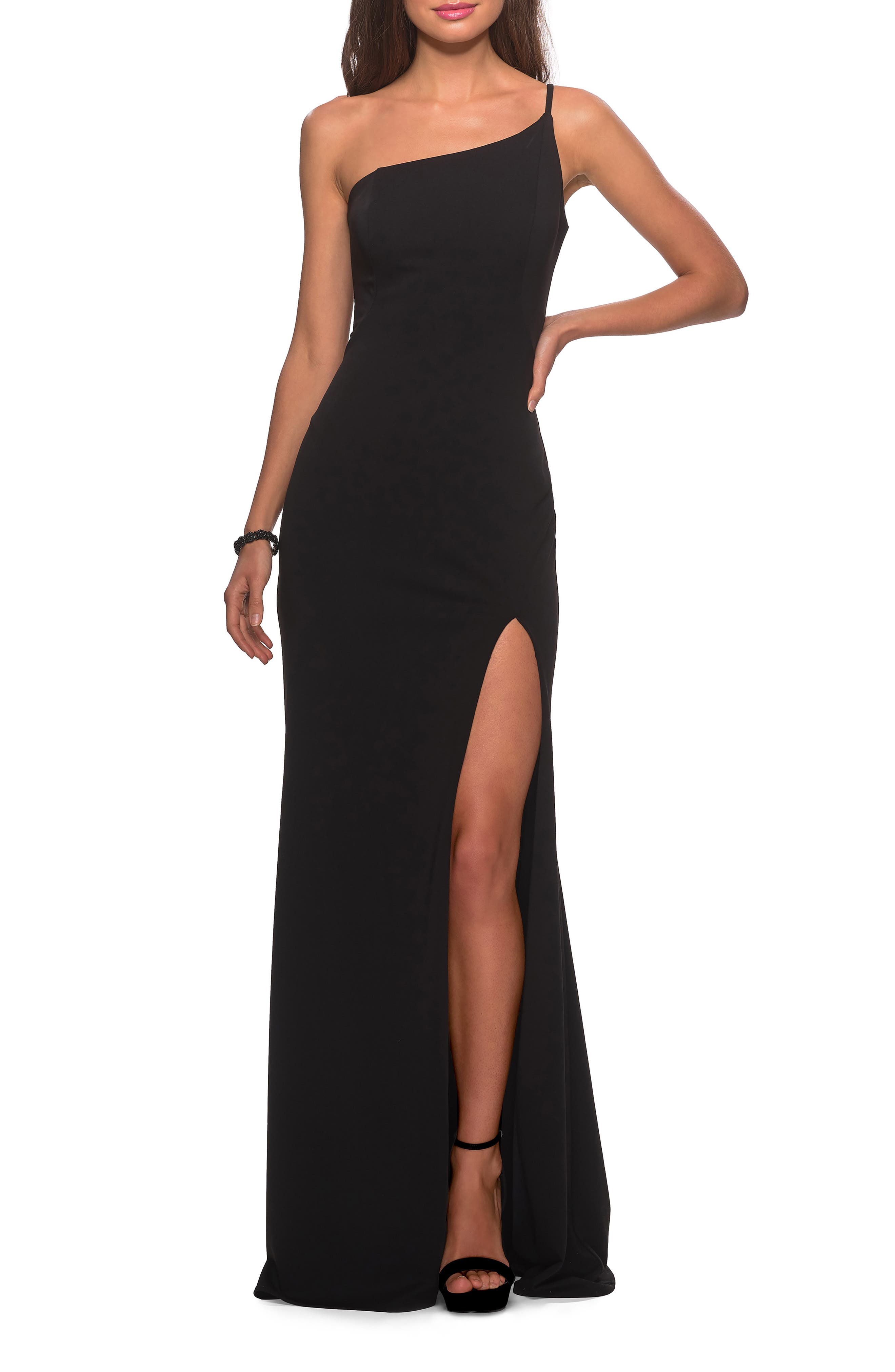La Femme One-Shoulder Jersey Gown, Black