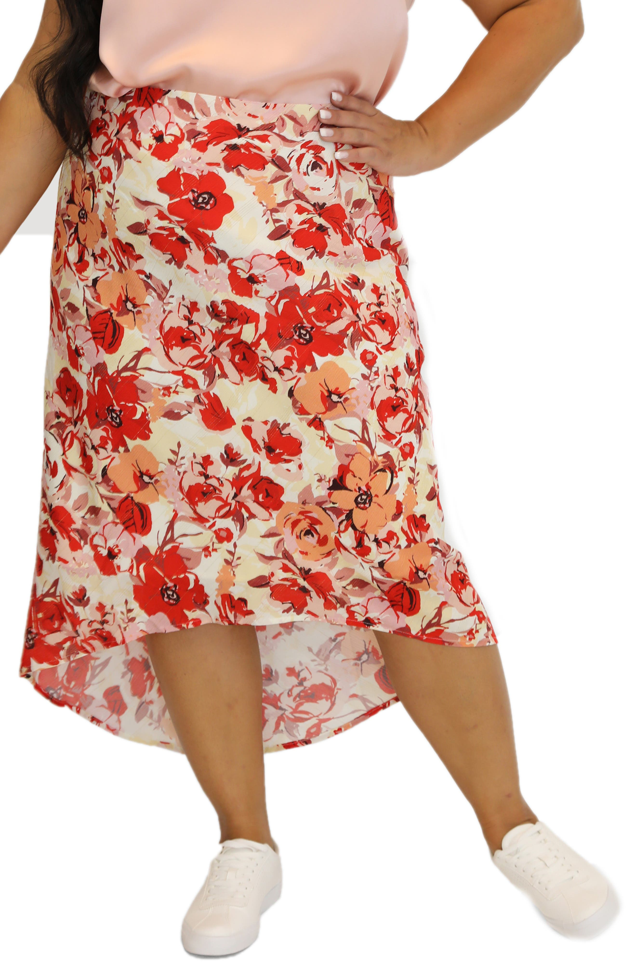 Floral High/low Skirt