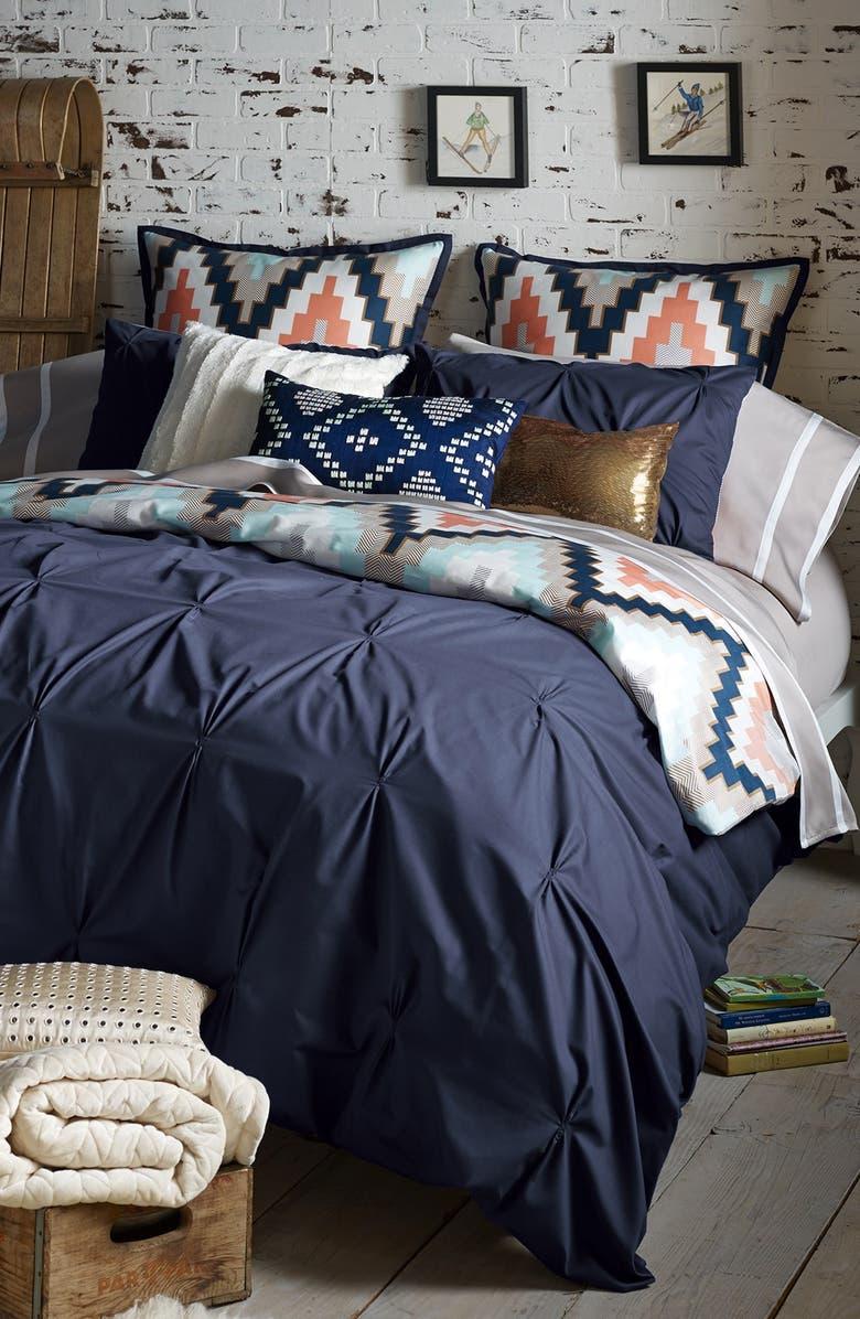 BLISSLIVING HOME 'Harper - Navy' Cotton Sateen Duvet Cover & Shams, Main, color, 411