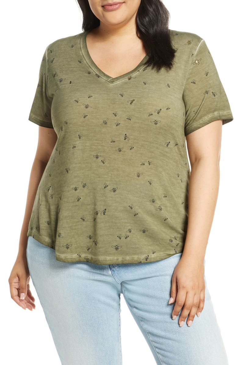DANTELLE Print Tee, Main, color, MILITARY OLIVE BEE PRINT