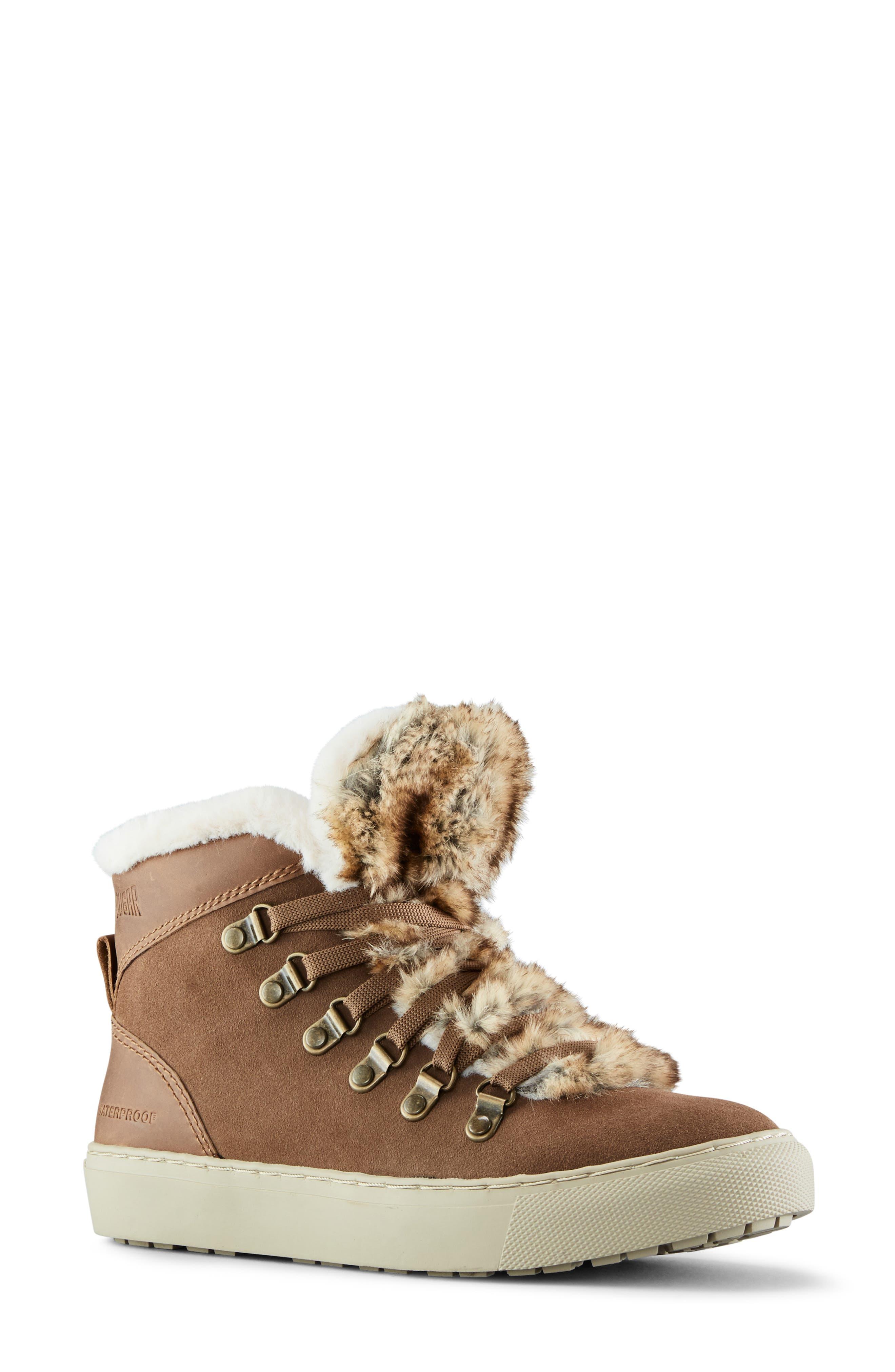 Women s Cougar Daniel Faux Fur Trim Waterproof Boot E5160
