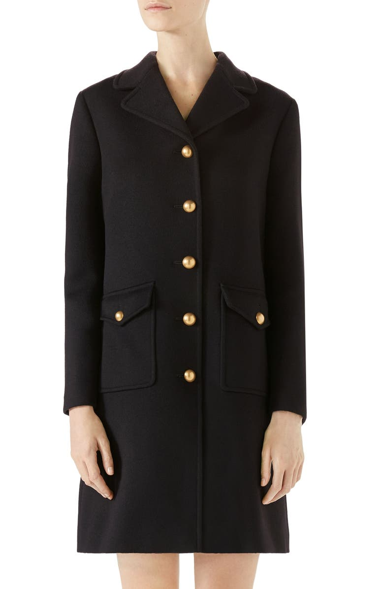 GUCCI Double G Wool Coat, Main, color, BLACK