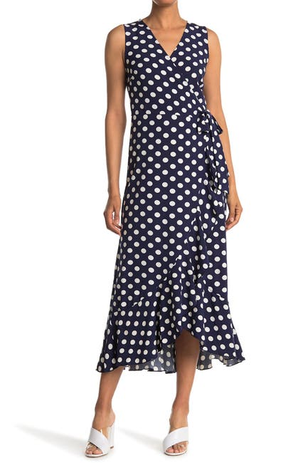 Image of Papillon Polka Dot Ruffled Wrap Maxi Dress