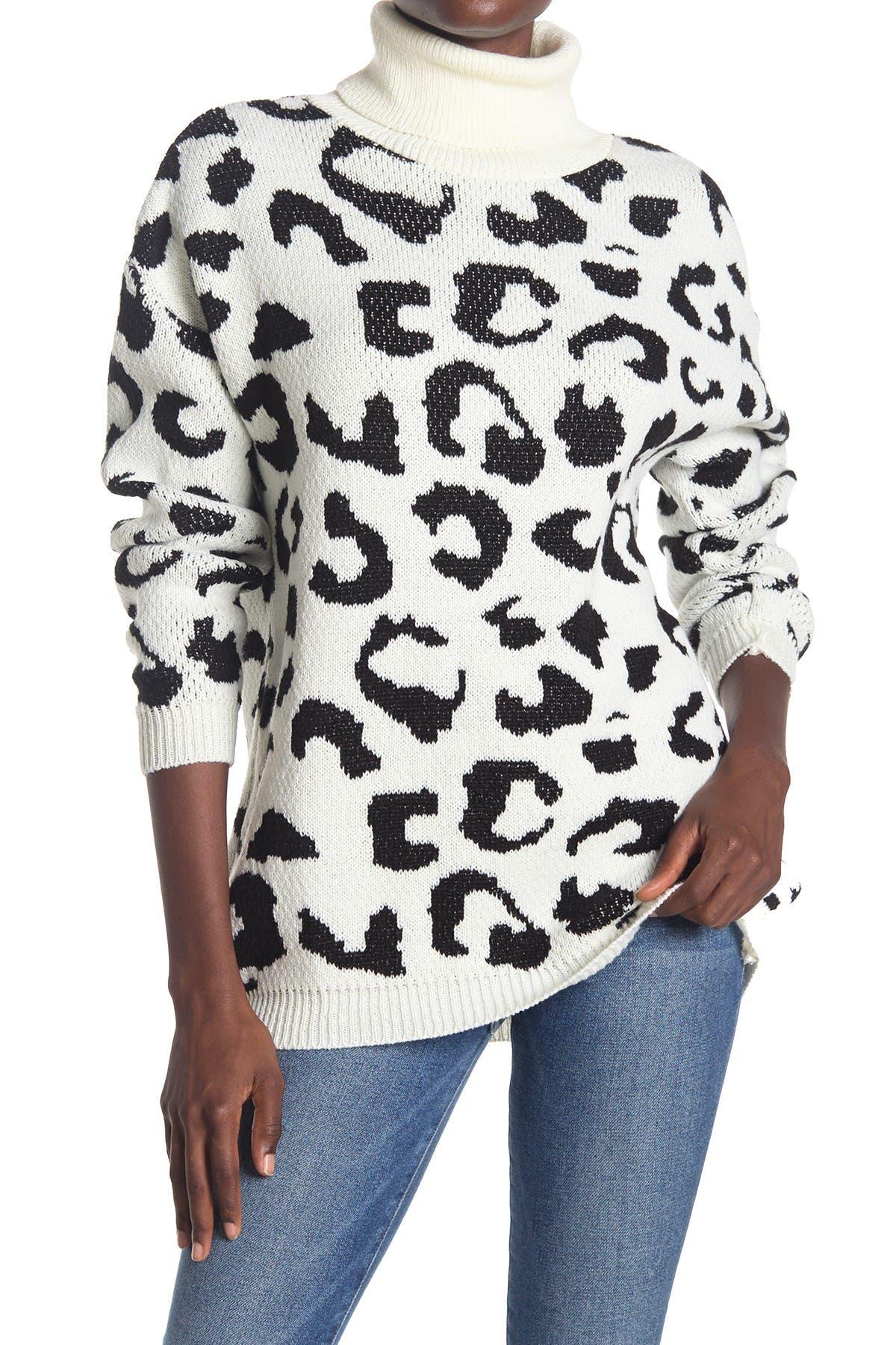 Image of Cotton Emporium Leopard Turtle Neck Tunic Sweater