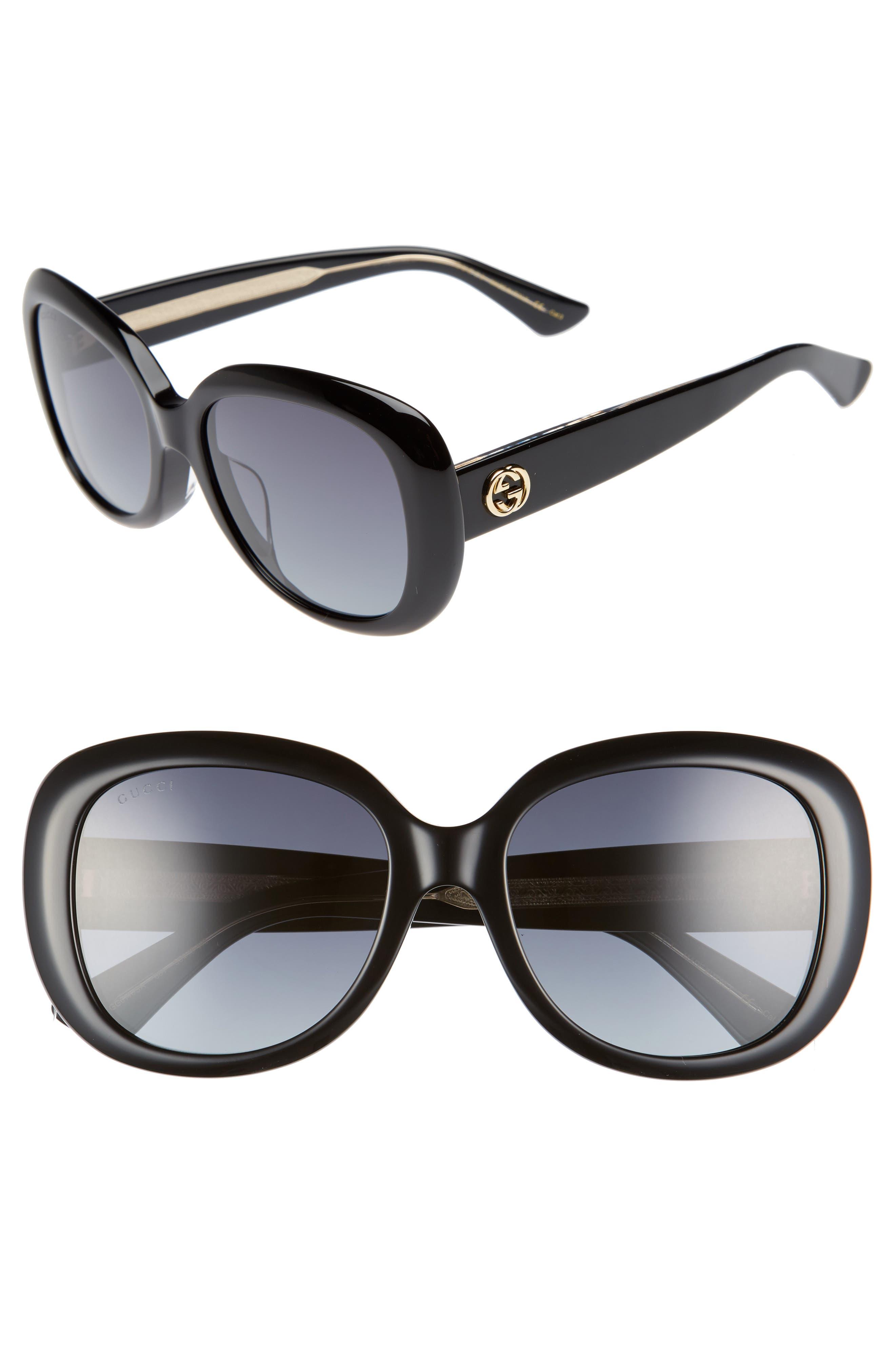 Gucci 55Mm Rectangular Sunglasses - Black/ Grey