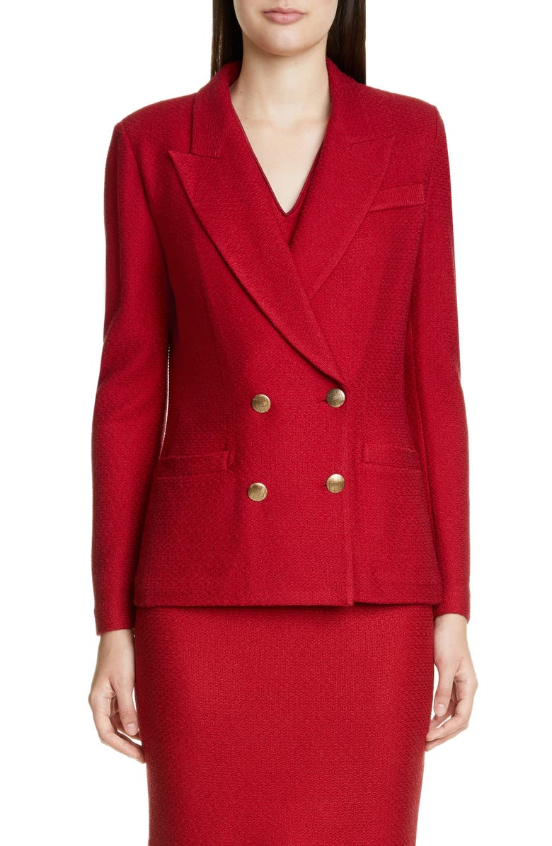 ST. JOHN COLLECTION Refined Textured Float Knit Jacket, Main, color, RUBY