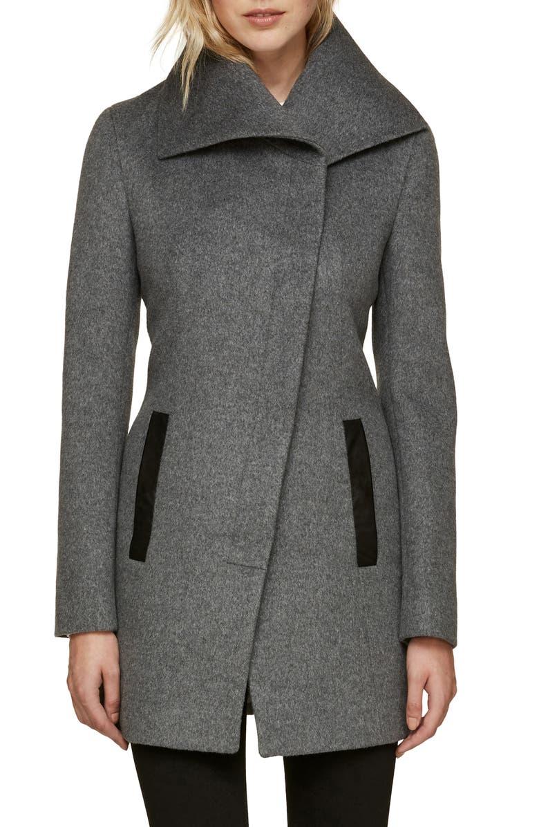 fa8f55df6 Slim Fit Asymmetrical Wool Blend Coat