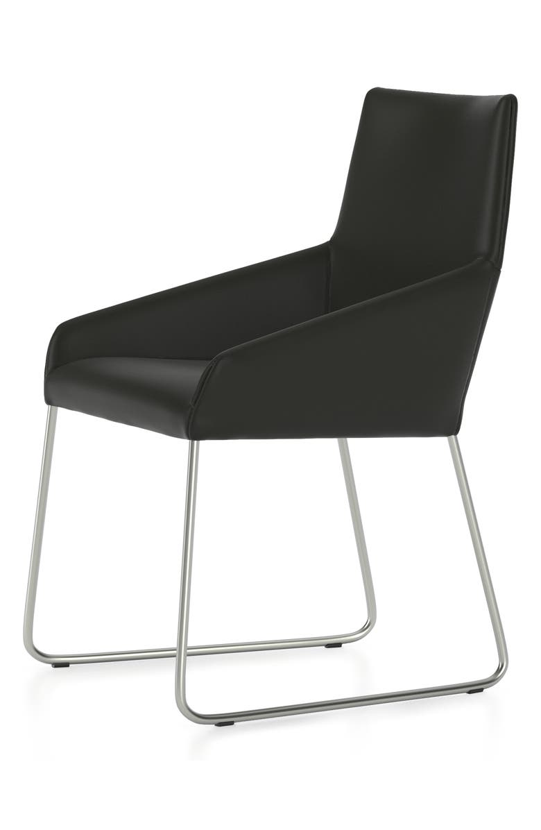 DESIGN ON STOCK USA Penta Sled Leather Chair, Main, color, BOCA I BLACK