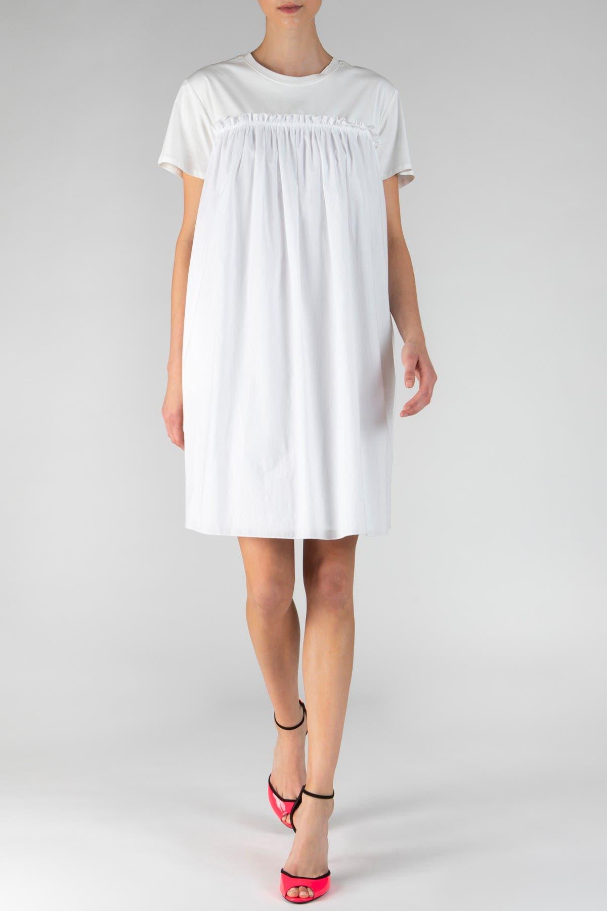 Atm Anthony Thomas Melillo Mix Media Short Sleeve Dress In White