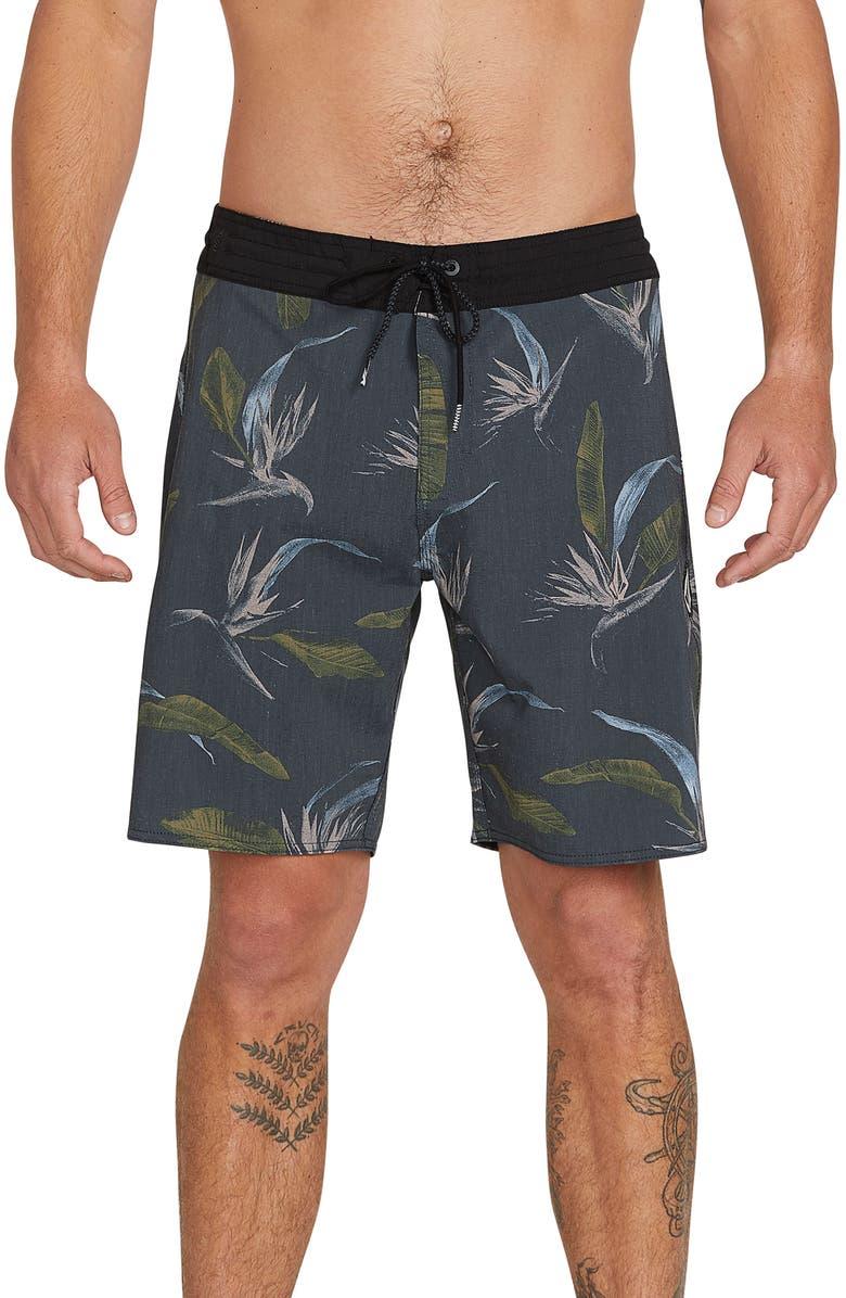 VOLCOM Faxer Stoney Board Shorts, Main, color, BLACK