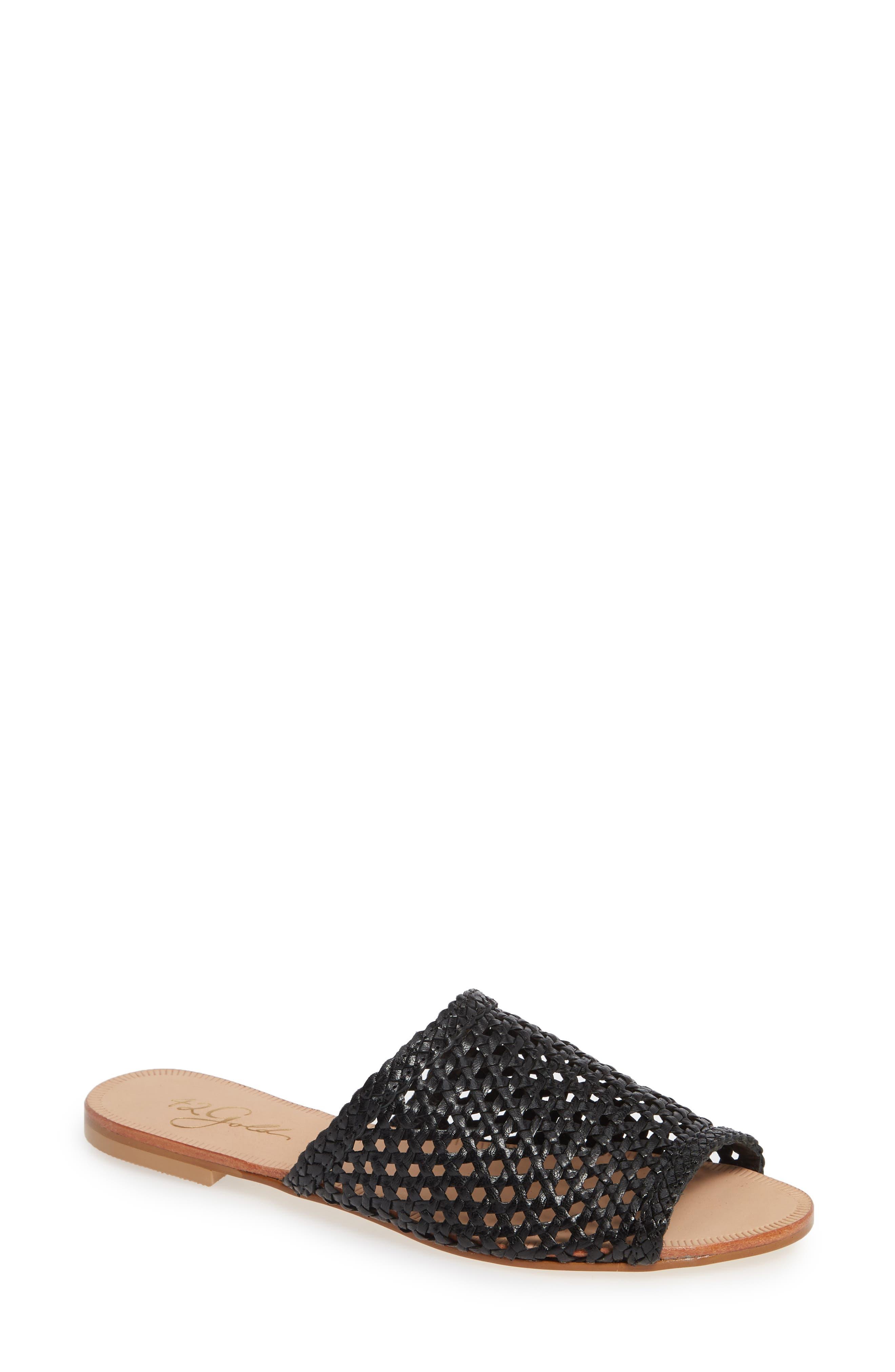 Begonia Slide Sandal (Women0, Main, color, BLACK LEATHER
