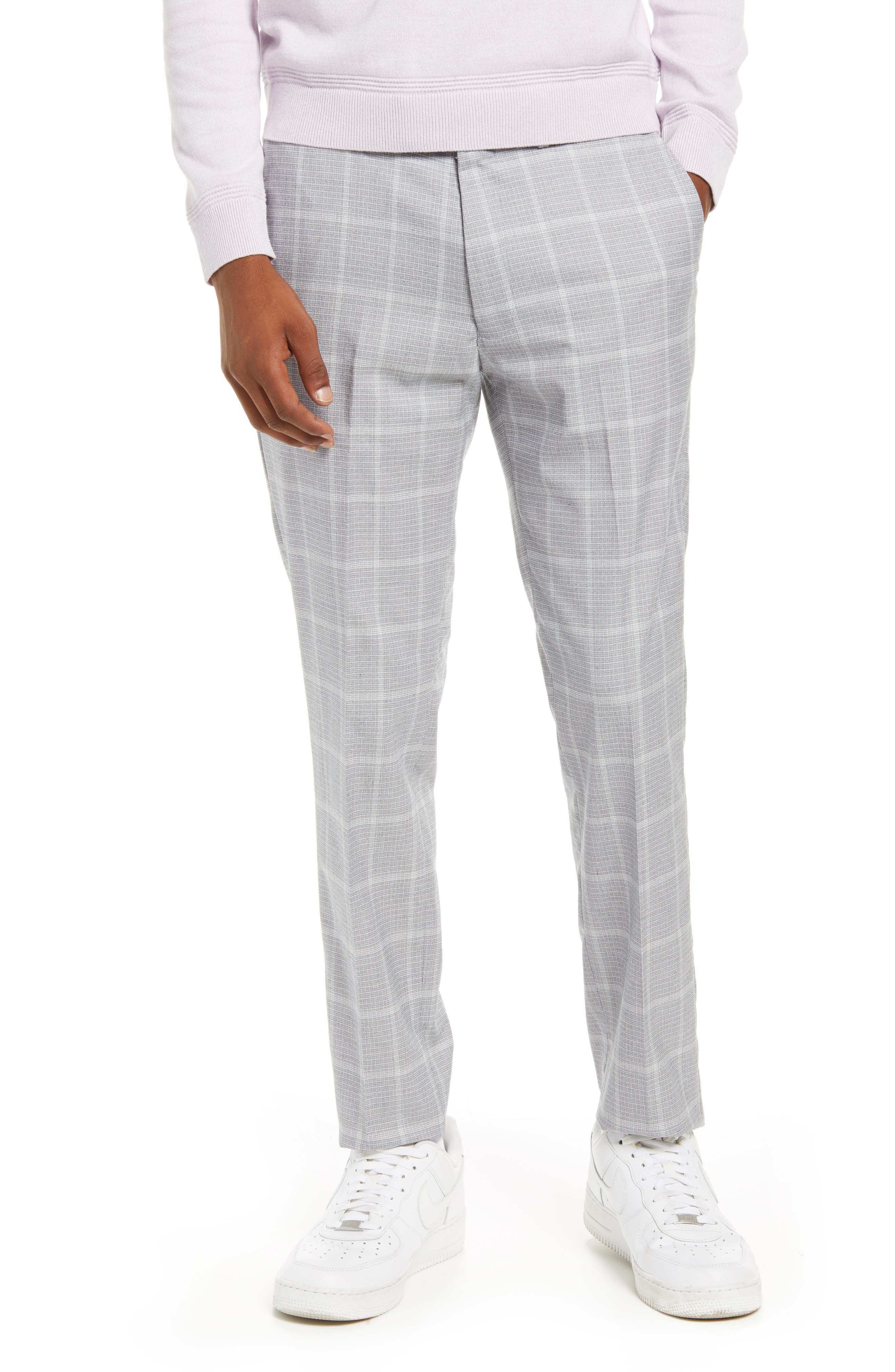 60s – 70s Mens Bell Bottom Jeans, Flares, Disco Pants Mens Topman Skinny Fit Flat Front Check Mens Pants Size 34 x 32 - Grey $65.00 AT vintagedancer.com