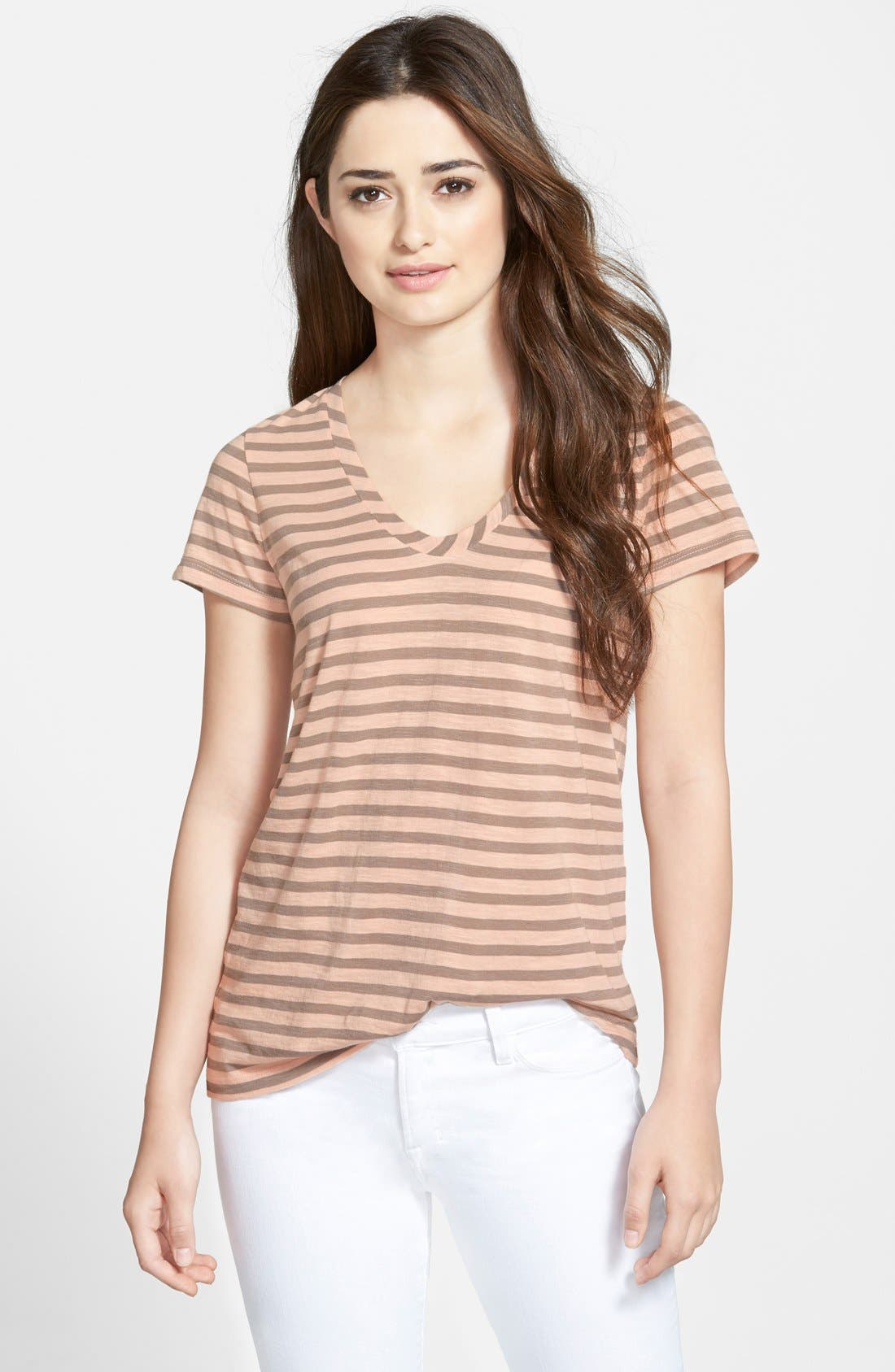 ,                             Relaxed Slub Knit U-Neck Tee,                             Main thumbnail 399, color,                             681
