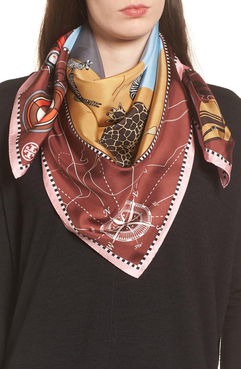 TORY BURCH Safari Silk Scarf, Main, color, 650