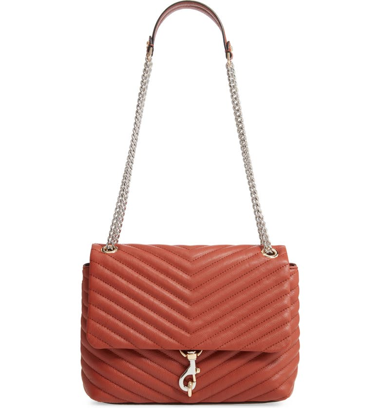 REBECCA MINKOFF Edie Flap Quilted Leather Shoulder Bag, Main, color, ACORN
