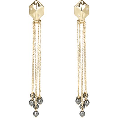 Alexis Bittar Imitation Pearl Fringe Hexagon Drop Earrings