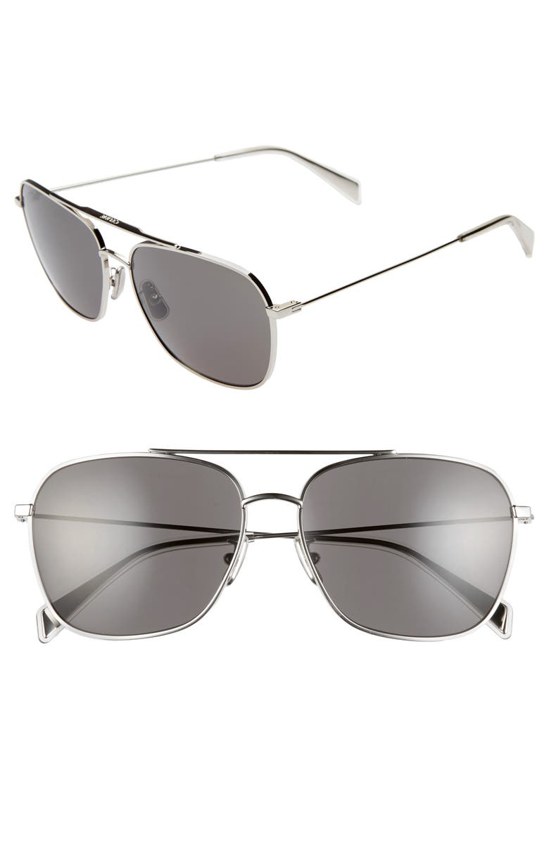 CELINE 59mm Navigator Sunglasses, Main, color, SHINY PALLADIUM