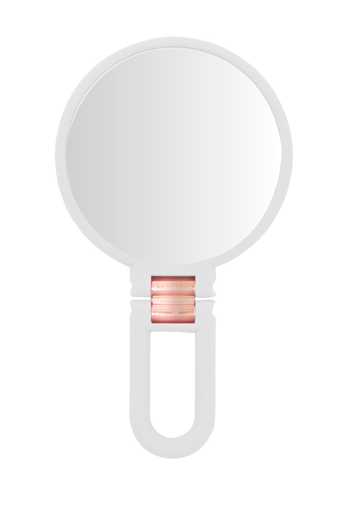 UPPER CANADA SOAPS Danielle Soft Touch Hand Held Foldable Mirror - White w/ Rose Gold Metal