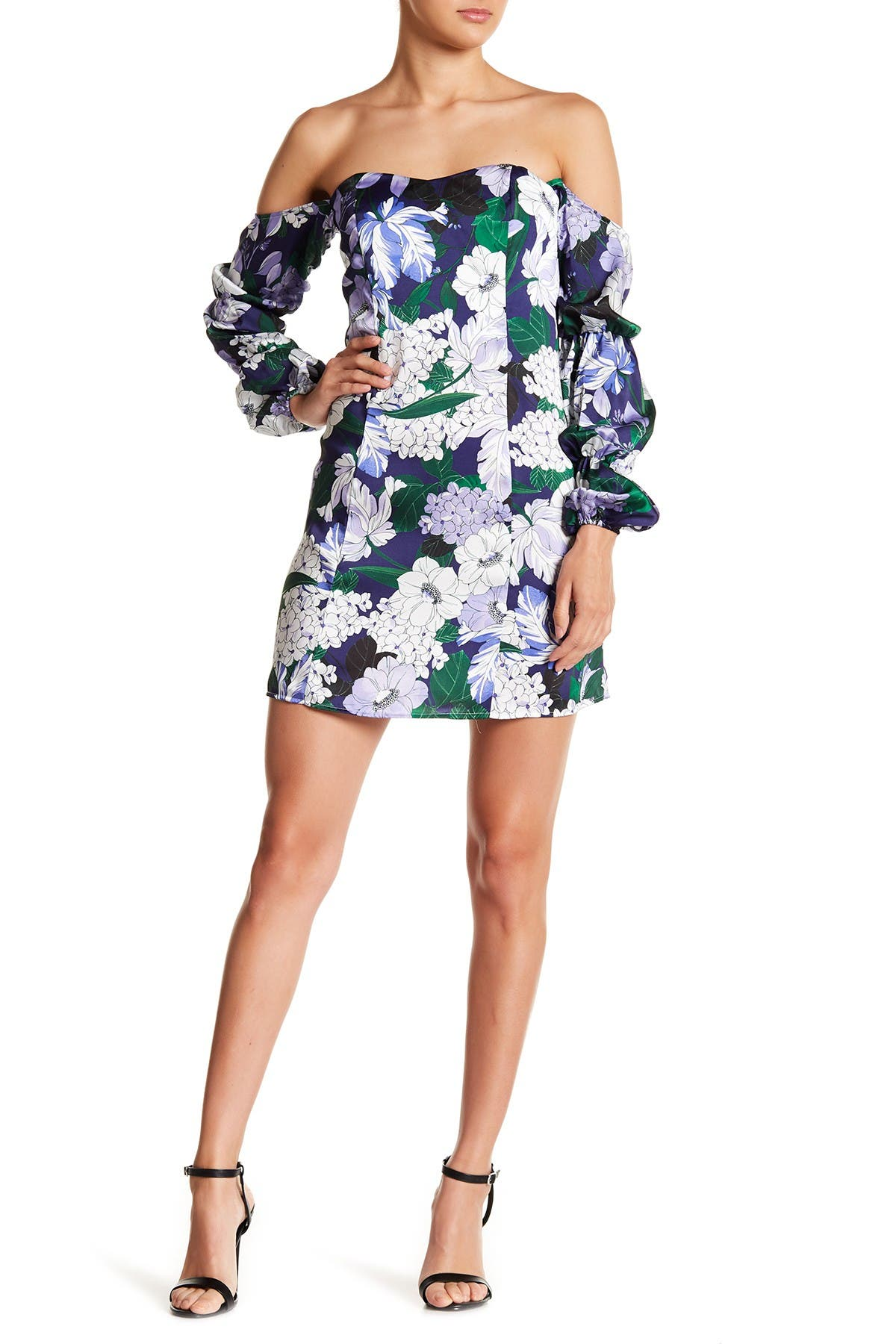 Image of Alexia Admor Floral Print Off-the-Shoulder Dress